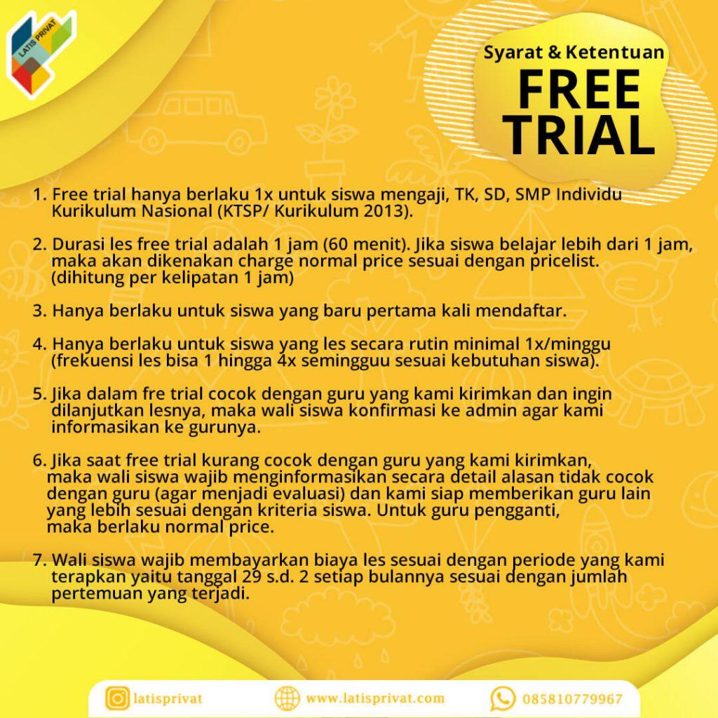 free trial, coba gratis, guru les privat ke rumah, les privat terbaik, les di rumah